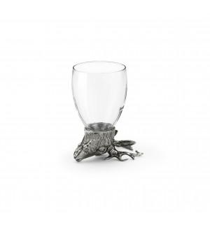 Bicchiere in peltro e vetro con testa di cervo h cm 12,3