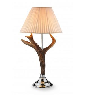 Lampada in peltro e corna di cervo h cm 74 con paralume ø cm 40