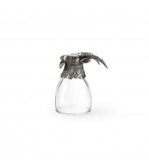 Bicchierino in peltro per grappa con testa di stambecco h cm 8
