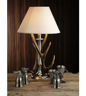 Lampada in peltro e corna di cervo h cm 66 con paralume ø cm 40