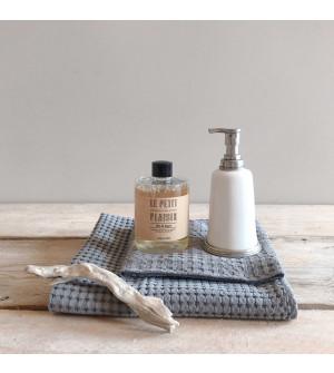 Dispenser sapone in peltro e ceramica con ricarica sapone profumo Pompelmo