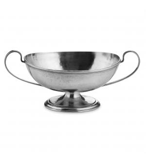 Coppa ovale in peltro con manici cm 22x44 h 15,5