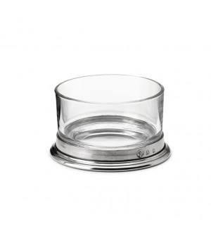Ciotola aperitivo in peltro e vetro h 5,6 cm ø 10