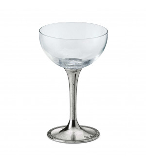 Calice cocktail in cristallo e peltro h 15,5 cm