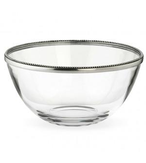 Ciotola insalata in vetro e peltro ø 23,5 cm