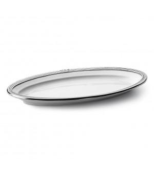 Vassoio ovale in peltro e ceramica cm 17x32
