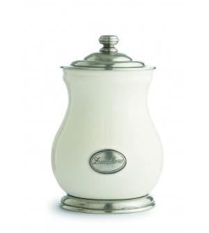 Barattolo piccolo in peltro e ceramica h cm 22,5