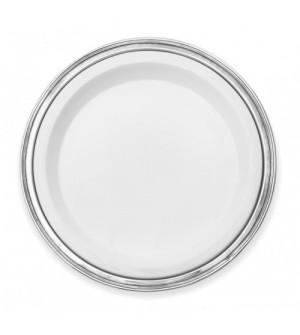Vassoio tondo in peltro con inserto in ceramica ø cm 40,5