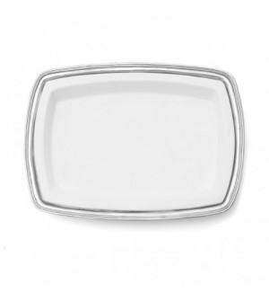 Vassoio rettangolare in peltro con inserto in ceramica cm 49x35,5