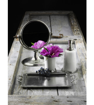Specchio da tavolo in peltro ø cm 18