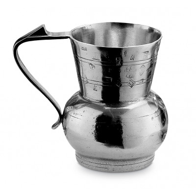 Pewter small pitcher with crests h 11 cm