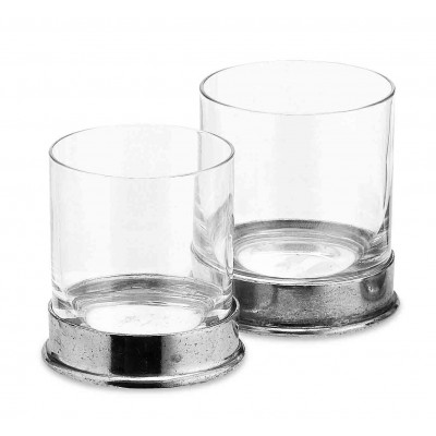 Pewter & glass water glass h cm 9