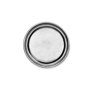 Pewter rimmed small coaster ø cm 10