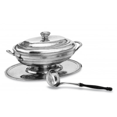 Pewter lidded soup tureen with tray&ladle cm 22x31,5 h cm 19