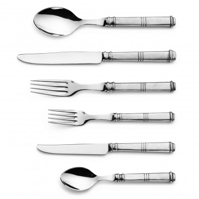 Pewter & stainless steel flatware, 1 place setting