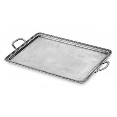 Pewter rectangular tray w/handles