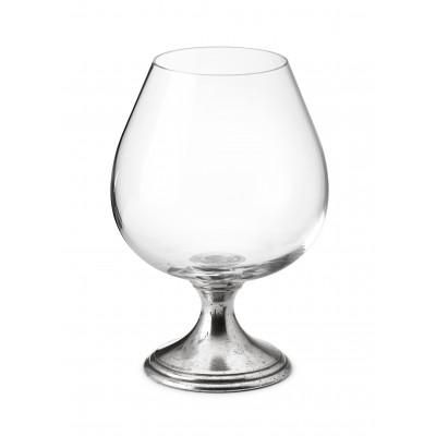 Pewter & crystal cognac glass h cm 15,5