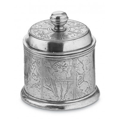 Pewter embossed canister h cm 15 ø 12