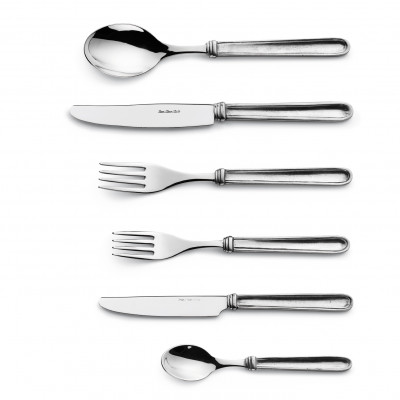 Pewter & stainless steel flatware, 6 pcs set
