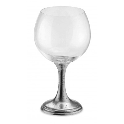 Pewter & glass wine tasting goblet h cm 18