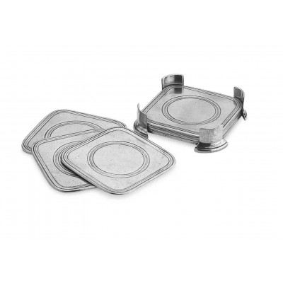 Pewter square coasters in caddy, set of six cm 9,5