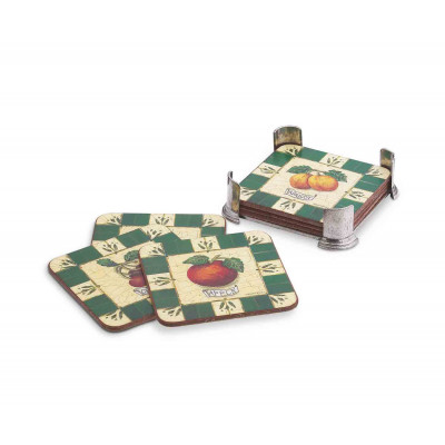 Pewter square caddy with six coasters cm 10,5