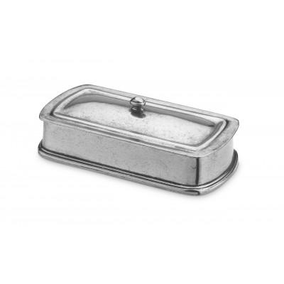 Pewter rectangular lidded box cm 9x17 h 3,5