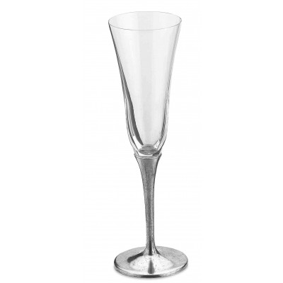 Pewter & crystal champagne flute h cm 24