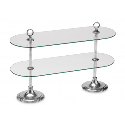Pewter&glass two-tiered buffet stand cm 26x72 - h cm 45