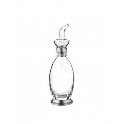 Glass and pewter oil bottle, h 21,5 cm - 200 cc