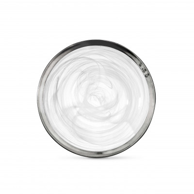 Pewter & alabaster-white glass soup bowl ø 23,5 cm
