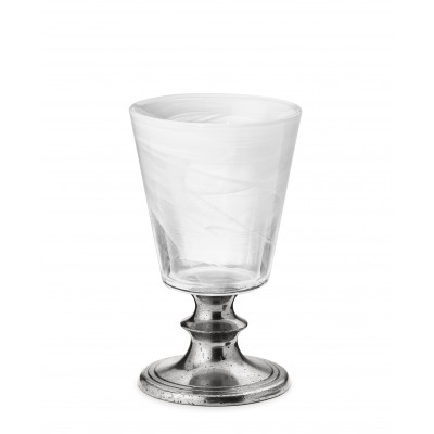 Pewter & alabaster-white glass goblet h 9 cm