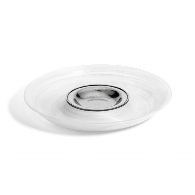 Pewter & alabaster-white glass chip&dip ø 36,5 cm