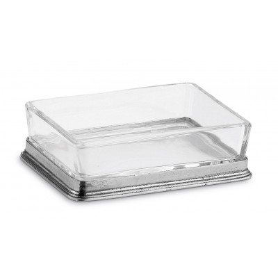 Pewter and crystal butter dish/Soap Dish cm 8x11