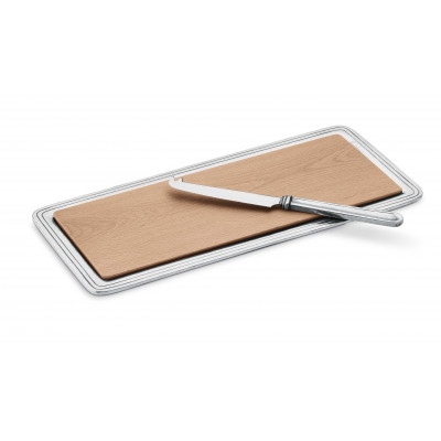 Pewter rectagular cheese tray w/wood cm 15,5x33