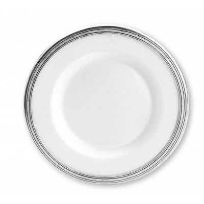 Pewter & ceramic dinner plate ø cm 28