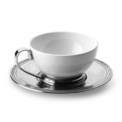 Pewter and ceramic cup&saucer ø cm 11