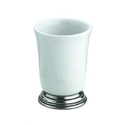 Pewter and ceramic tumbler cm 7,5x9,5h