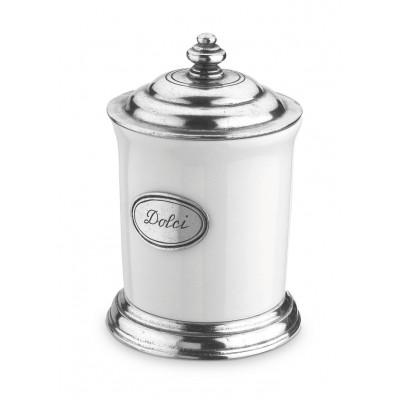 Pewter and ceramic canister ø cm 10 h cm 16,5