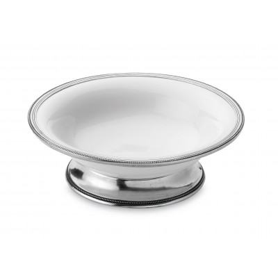 Pewter and ceramic large footed bowl ø cm 38 h cm 12,5