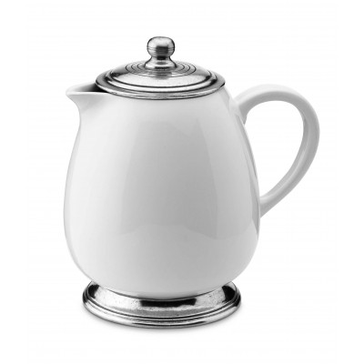 Pewter and ceramic coffee pot h cm 20