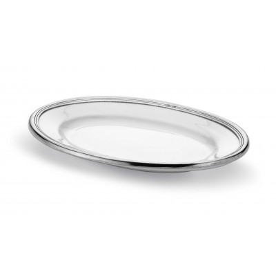 Pewter and ceramic oval tray cm 26x36