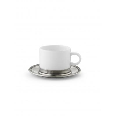 Tea cup with pewter saucer ø 14,5 cm