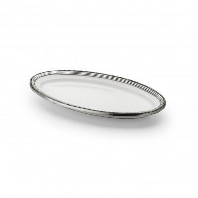 Pewter & ceramic oval dish cm 33,5x18
