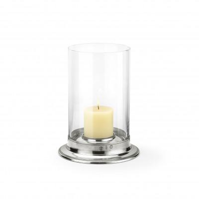 Pewter & glass hurricane lamp ø cm 29,5 - h cm 38