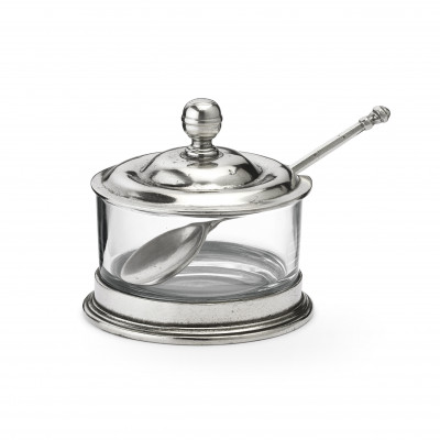 Pewter and glass jam jar ø 10 h 10 cm