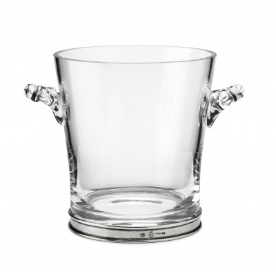 Pewter and glass ice bucket h 18,5 cm