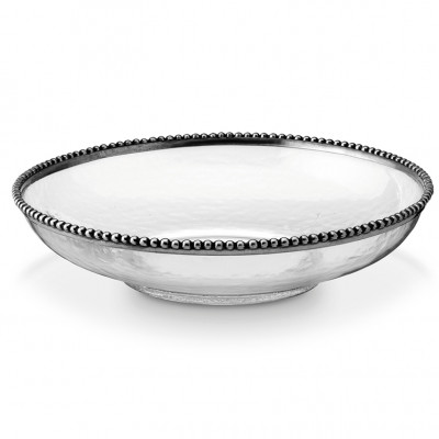 Pewter and glass serving bowl ø 35,6 h 8 cm