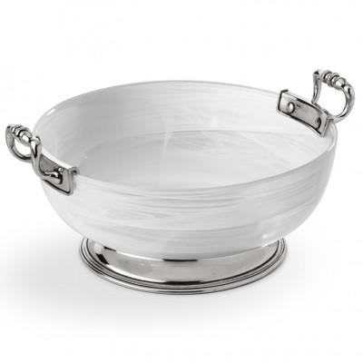 Pewter&alabaster-white lg bowl ø 27 cm h 11,3