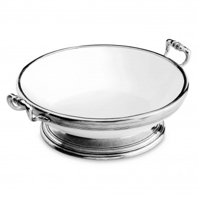 Pewter and ceramic large footed bowl with handles ø cm 34 h 12